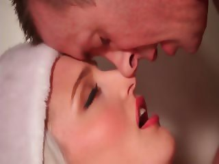 Blonde in Santa outfit loves BFs tongue licking her