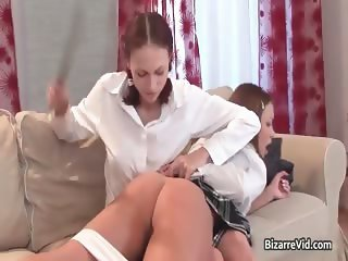 Two cute babes spank each other and have part6