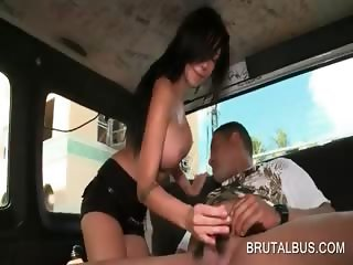 Big meloned brunette swallows hard dick in the bus