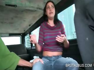 Amateur babe riding sex bus shows sexy tits