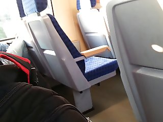 Flashing yng german girl in a train
