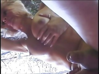 Outdoor blonde tranny anal action from this hot stud who cums on her balls
