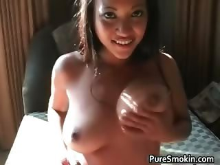 Sexy ebony hoe lights a cigar part6
