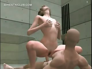 Naked hentai blonde riding a jizz loaded cock