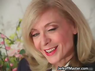 Blond MILF Nina stripping and rubbing part2
