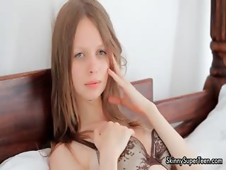 Sexy skinny girl gets horny rubbing part6
