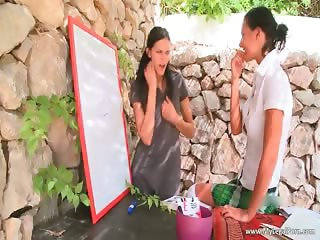 Hot outdoor lesbian action with sexy part5