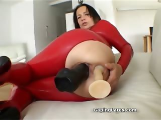 Dirty brunette slut goes crazy dildo part4