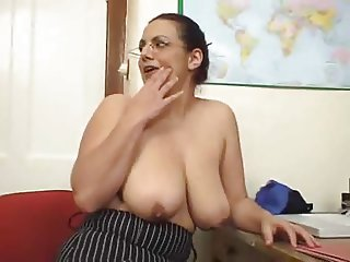 Hot Mature Brunette With Natural Saggy Tits