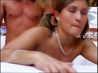 Insatiable pigtailed mom penetrated by young stud in the spa tub