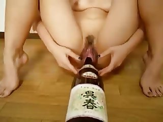 Dirty Bottle Insertion & Wet Gaping Pussy