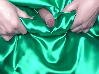 come on green satin evening dress xvid