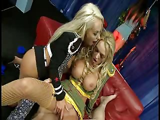 British blonde slut in a FFM threesome in yellow fishnets