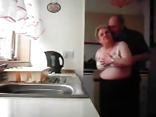 Grandma and grandpa fucking in the kitchen