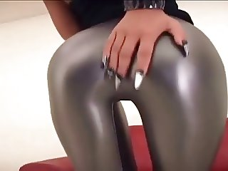 Asian in silver leggings