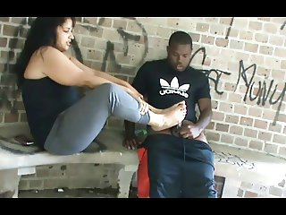 Red Royalty Gives Footjob in Abandoned Building