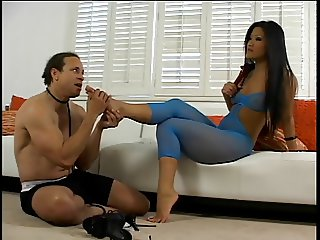 Christina Aguchi the Asian dominatrix gets feet and butt licked