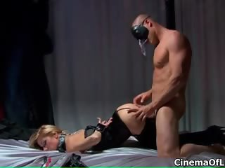 Hot blonde tide up babe gets her pussy part2
