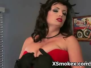 Hot Busty Woman Fetish Smoking Naughty