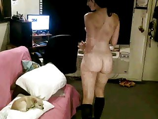 Raven Haired Beauty Naked in Room!