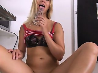 Weird kitchen vibrator in her pussy cunt