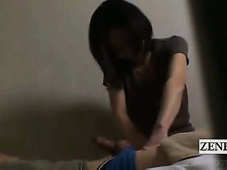 Subtitled Japanese hotel milf massage erection exposure