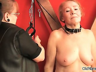 Nasty old woman gets spanked part2
