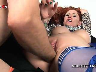 Slutty sex addict redhead fits a whole fist in her snatch
