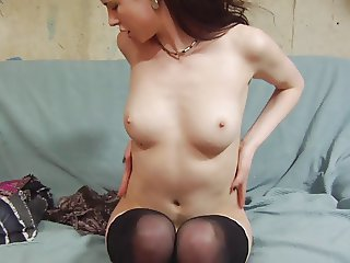 Young girl with stockings masturbation