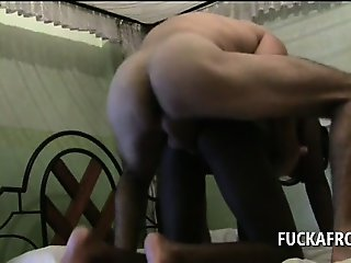 White giant cock smashing horny wet pussy in a hotel room