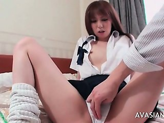 Asian Schoolgirl In Bikini Has Wet Pussy Massage