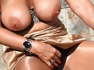 Solo MILF In Shiny Pantyhose Outdoors
