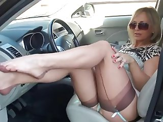 Incredible Milf Flashing Stockings