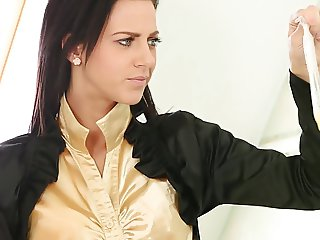 brunette fucks in yellow blouse