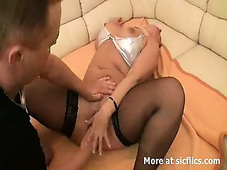 Blond milf fist fucked in her huge cunt till she squirts