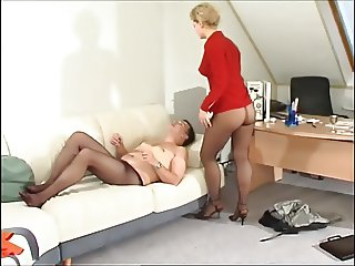 Pantyhosed horny boss