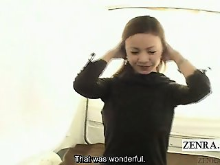 Subtitled embarrassed Japanese amateur flashes breasts