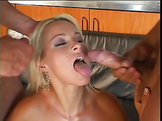 Porn star taking two cocks in dp