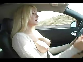 Blonde Car Big Tits Finger