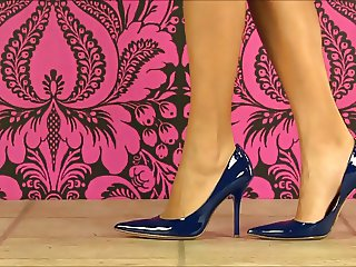 Blue Patent Heels, Legs, Stockings SO SEXY!