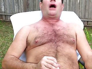 my new cyber daddy enjoys to jerk off his cock outside