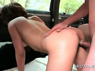 Hot ass naked tramp gets cunt nailed doggy in the sex bus