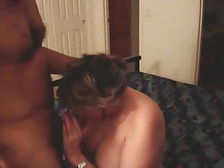Mature cheating big tit slut wife sucking hairy cock balls