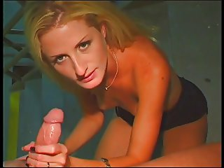 Skinny blonde deep throats boyfriend's cock in public