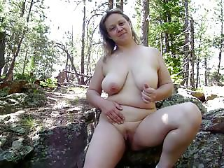 Wife Totally Naked On Trail Outdoors!