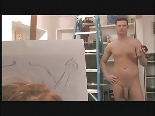 Artist chick sucks and takes her nude model's thick cock on table