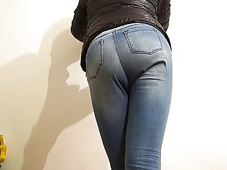 crossdresser wearing new jeans and girlie stuff