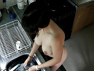 Washing dishes with Nude - spy video