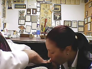 Secretary Brandi is doing a blowjob on her knees
