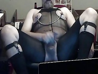 Kinky sock garter and nylon body suit cum session